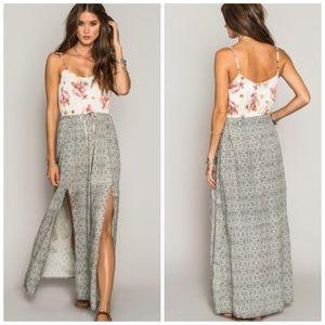 Boho floral slit maxi drawstring maxi dress